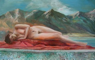 Vladimir Volosov: 'maid laying on scarlet', 1999 Oil Painting, Nudes. Artist Description: This is an original unique textured oil painting on stretched canvas. The painting was created using professional quality oil paints. Original Artist Style aEUR
