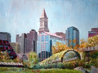 Vladimir Volosov: 'majestic beautiful boston', 2012 Oil Painting, Cityscape. Artist Description: This is an original unique textured oil painting on stretched canvas. The painting was created using professional quality oil paints. Original Artist Style aEUR