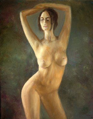 Vladimir Volosov: 'model with arms raised', 2017 Oil Painting, Nudes. Artist Description: This is an original unique textured oil painting on stretched canvas. The painting was created using professional quality oil paints. Original Artist Style aEUR