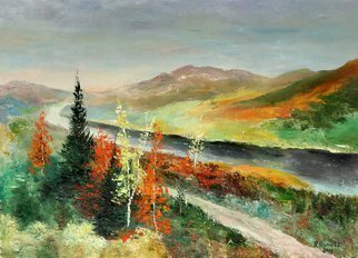 Vladimir Volosov: 'mountains in karelia', 2008 Oil Painting, Landscape. Artist Description: This is an original unique textured oil painting on stretched canvas. Original Artist Style aEUR
