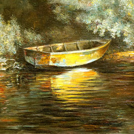 Vladimir Volosov: 'old boat', 1994 Oil Painting, Sea Life. Artist Description: This is an original unique textured oil painting on stretched canvas. Original Artist Style aEUR