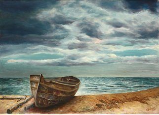 Vladimir Volosov: 'old boat on the beach', 2017 Oil Painting, Marine. Artist Description: This is an original unique textured oil painting on museum stretched canvas. Original Artist Style aEUR