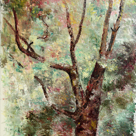 Vladimir Volosov: 'old tree', 2008 Oil Painting, Landscape. Artist Description: This is an original unique textured oil painting on stretched canvas. Original Artist Style aEUR