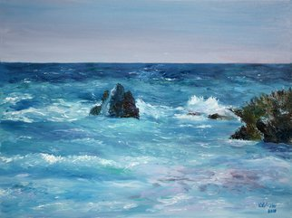 Vladimir Volosov: 'on bermuda', 2018 Oil Painting, Marine. Artist Description: This is an original unique textured oil painting on stretched canvas. Original Artist Style aEUR