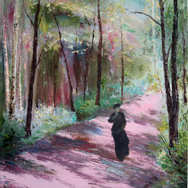 Vladimir Volosov: 'pink avenue', 2018 Oil Painting, Landscape. Artist Description: This is an original unique textured oil painting on stretched canvas. The painting was created using professional quality oil paints. Original Artist Style aEUR