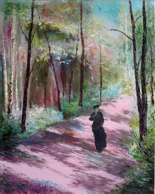 Vladimir Volosov: 'pink avenue', 2018 Oil Painting, Landscape. This is an original unique textured oil painting on stretched canvas. The painting was created using professional quality oil paints. Original Artist Style aEUR