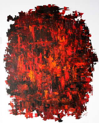 Vladimir Volosov Artwork red and black, 2017 Oil Painting, Abstract
