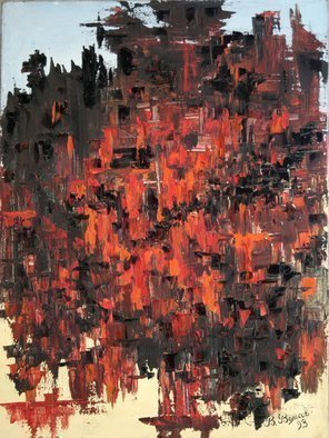 Vladimir Volosov: 'red and black', 1993 Oil Painting, Abstract. Artist Description: This is an original unique textured oil painting on stretched canvas. Original Artist Style aEUR