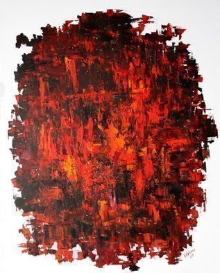 Vladimir Volosov: 'red and black', 2018 Oil Painting, Abstract. This artwork is an textured oil painting on Nanvas stretched on a wooden frame, painted using a palette knife. I have been working on improving the texture of my paintings, and I think, in this picture, I have been able to show the results of that work. Bright colors highlight ...