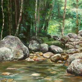 Vladimir Volosov: 'river in canyon', 2006 Oil Painting, Landscape. Artist Description: This is an original unique textured oil painting on stretched canvas. Original Artist Style aEUR