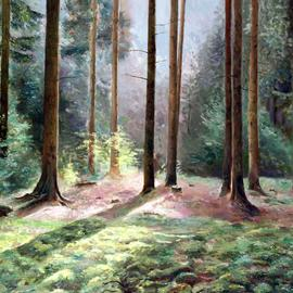 Vladimir Volosov Artwork sounds of the forest, 2007 Oil Painting, Landscape