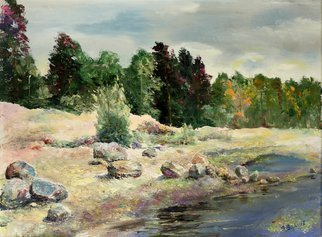 Vladimir Volosov: 'stony shore', 2003 Oil Painting, Landscape. Artist Description: This is an original unique textured oil painting on stretched canvas. Original Artist Style aEUR