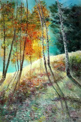 Vladimir Volosov: 'sunny forest', 2018 Oil Painting, Impressionism. Artist Description: This is an original unique textured oil painting on stretched canvas. Original Artist Style aEUR