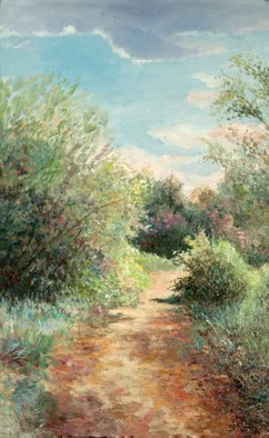 Vladimir Volosov: 'sunny road to the see', 2009 Oil Painting, Impressionism. Artist Description: This is an original unique textured oil painting on stretched canvas. Original Artist Style aEUR