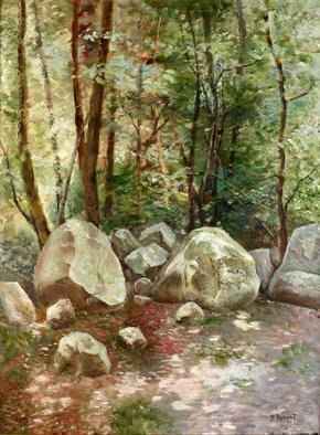 Vladimir Volosov: 'sunny spots in the forest', 2005 Oil Painting, Impressionism. Artist Description: This is an original unique textured oil painting on stretched canvas. Original Artist Style aEUR