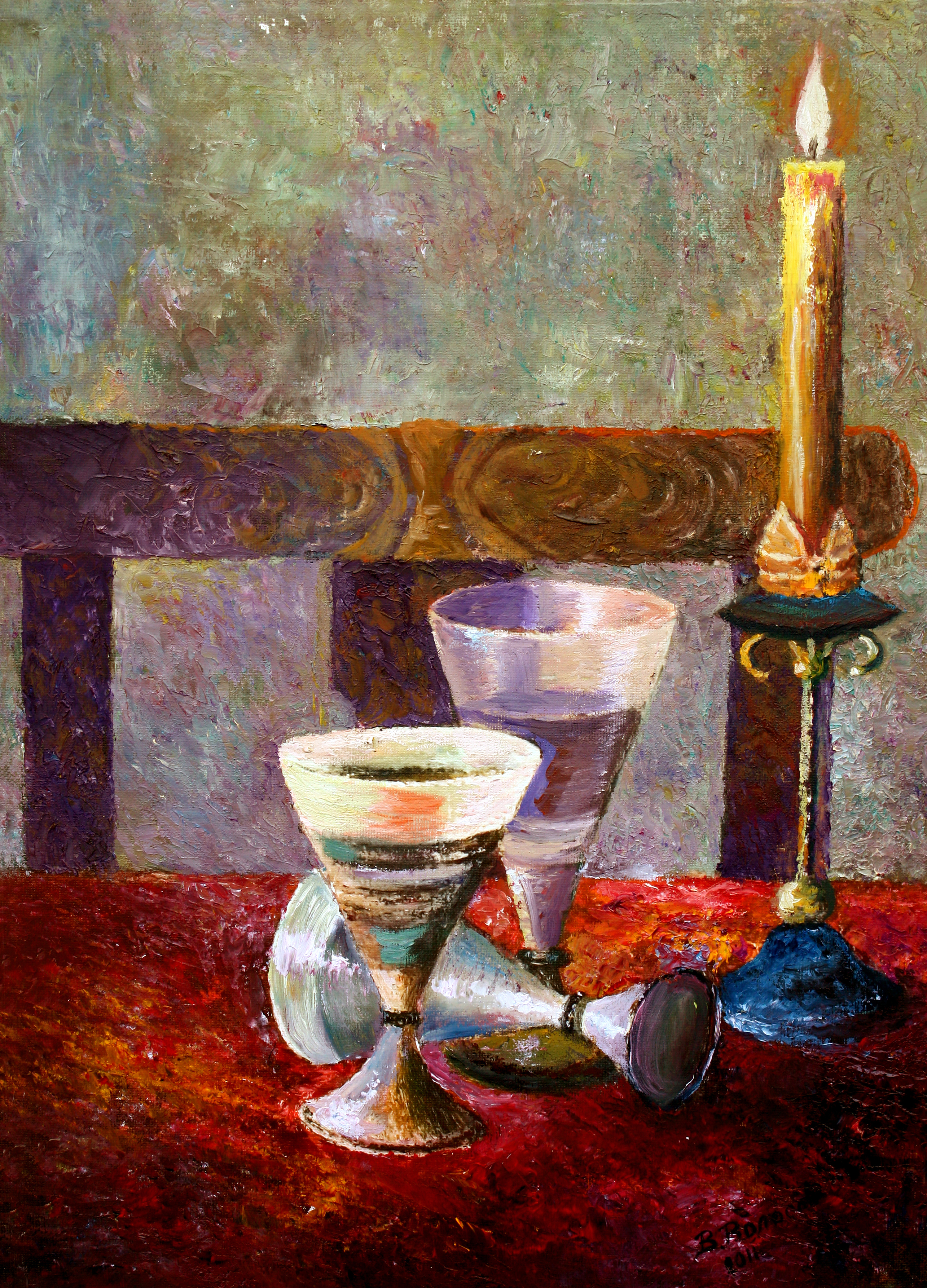 Good Vladimir Volosov Artwork: The Candle On The Table | Original Painting Oil |  Still Life Art