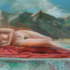 Vladimir Volosov Artwork the girl lying on the red, 2017 Oil Painting, Nudes