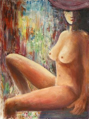 Vladimir Volosov: 'the girl with hat', 2019 Oil Painting, Nudes. This is an original unique textured oil painting on stretched canvas. The painting was created using professional quality oil paints. Original Artist Style aEUR
