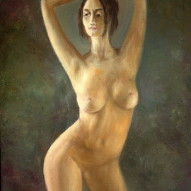 Vladimir Volosov Artwork the girl with raised hands, 2017 Oil Painting, Nudes