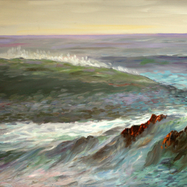 Vladimir Volosov: 'the wave', 2001 Oil Painting, Marine. Artist Description: This is an original unique textured oil painting on stretched canvas. Palette knife. Original Artist Style aEUR