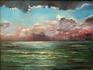 Vladimir Volosov Artwork thunderstorm over the see, 1999 Oil Painting, Marine