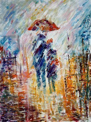 Vladimir Volosov: 'together under rain', 2015 Oil Painting, Love. Artist Description: This is an original unique textured oil painting on stretched canvas. Original Artist Style aEUR