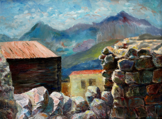 Vladimir Volosov: village in the mountains, 1986 Oil Painting