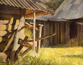 Vladimir Volosov Artwork warmth of wooden walls, 1991 Oil Painting, Landscape