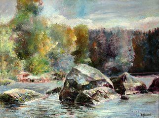 Vladimir Volosov: 'water and stones', 2002 Oil Painting, Landscape. Artist Description: This is an original unique textured oil painting on stretched canvas. Original Artist Style aEUR
