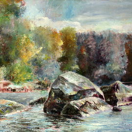 Vladimir Volosov: 'water and stones of karelia', 2002 Oil Painting, Landscape. Artist Description: This is an original unique textured oil painting on museum stretched canvas. Original Artist Style aEUR