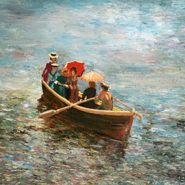 Vladimir Volosov: 'weekend stroll', 2010 Oil Painting, Marine. Artist Description: This is an original unique textured oil painting on stretched canvas. Original Artist Style aEUR