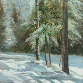 Vladimir Volosov: 'winter forest', 2003 Oil Painting, Landscape. Artist Description: This is an original unique textured oil painting on stretched canvas. The painting was created using professional quality oil paints. Original Artist Style aEUR