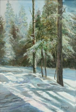 Vladimir Volosov: 'winter forest', 2003 Oil Painting, Impressionism. Artist Description: This is an original unique textured oil painting on stretched canvas. The painting was created using professional quality oil paints. Original Artist Style aEUR
