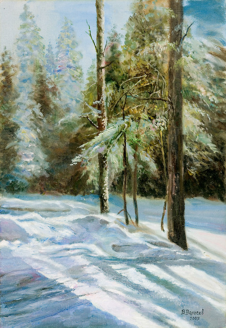 Artist Vladimir Volosov. 'Winter Forest' Artwork Image, Created in 2003, Original Calligraphy. #art #artist