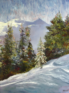 Vladimir Volosov Artwork winter in the mountains, 2005 Oil Painting, Impressionism