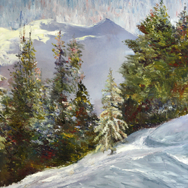 Vladimir Volosov: 'winter in the mountains', 2005 Oil Painting, Landscape. Artist Description: This is an original unique textured oil painting on museum stretched canvas. Original Artist Style aEUR