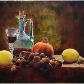 Vlad Lado Doychinov: 'still life', 2018 Acrylic Painting, Still Life. Artist Description: fruits, dark, light, colors...
