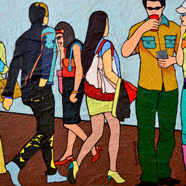 Vlado Vesselinov: 'demolished lives', 2017 Oil Painting, People. Artist Description: This artwork is from the Modern Days series.It is inspired by the modern way of life.  This quick way of life and the lack of communication between people.I hope to accept positively this artwork and this optimism, where you can see the pop art colors.  Things ...