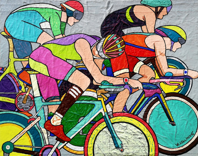 Vlado Vesselinov  'Tour De France', created in 2019, Original Painting Acrylic.