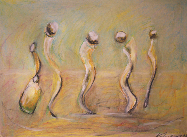 Vladimir Kolosov  'Seaside Dancers R C', created in 2019, Original Pastel Oil.