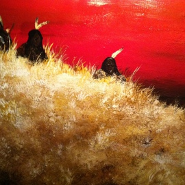 Jamie Voigt: 'Three hunters', 2012 Acrylic Painting, Western. Artist Description:  Sioux Hunters scouting the plains  ...