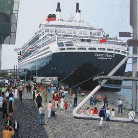 Volova Volova: 'Queen Mary2', 2007 Acrylic Painting, Figurative. Artist Description:   maiden call in Rotterdam in 2004 schip cruise piepel port   ...