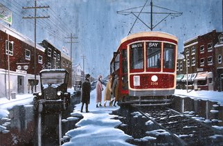Dave Rheaume: 'Boarding on St Clair', 2010 Acrylic Painting, Vintage.