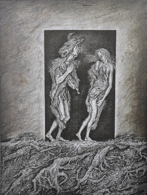 Leonid Stroganov  'Adam And Eve', created in 2010, Original Printmaking Etching - Open Edition.