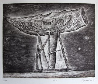 Leonid Stroganov: 'boat', 2016 Etching, Space. This work dedicated to space. This is a boat, which is full of travel history. ...