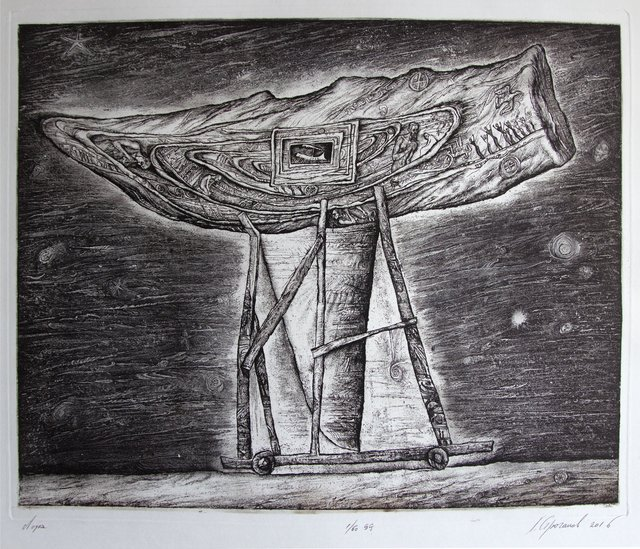 Leonid Stroganov  'Boat', created in 2016, Original Printmaking Etching - Open Edition.