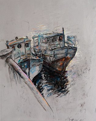 Leonid Stroganov: 'boats', 2015 Pastel Drawing, Landscape. Artist Description: This work is done an artist from nature...