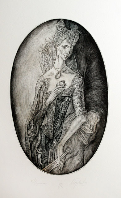 Leonid Stroganov  'Courtesan', created in 2010, Original Printmaking Etching - Open Edition.
