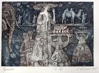 Leonid Stroganov: 'eating girl', 2018 Etching, Beauty. On the art work depicted a fantastic coast with exotic fancy animals, boats in the sea, and beautiful woman in a hat. ...