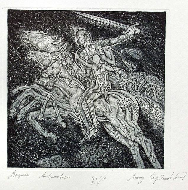 Leonid Stroganov  'Horsemen Of The Apocalypse', created in 2007, Original Printmaking Etching - Open Edition.